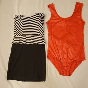 black dress, red body suit